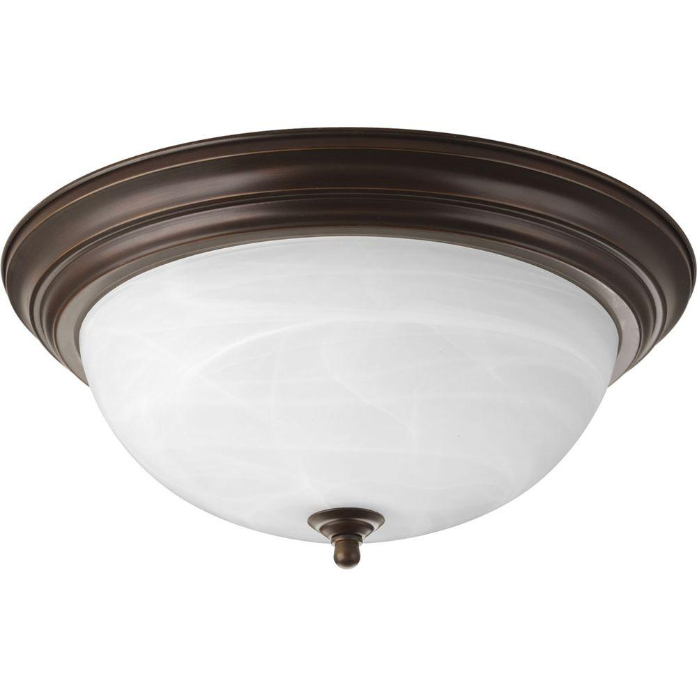 Progress lighting in 3 light antique bronze - Flush mount bathroom ceiling lights ...