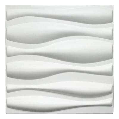 19.7 in. x 19.7 in. White PVC 3D Wall Panels Wave Wall Design (12-Pack)