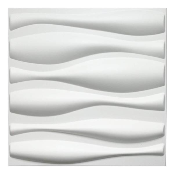 Art3d 19.7 in. x 19.7 in. White PVC 3D Wall Panels