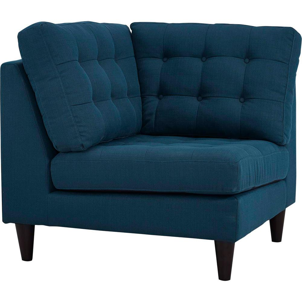 Modway Empress Upholstered Fabric Corner Sofa In Teal