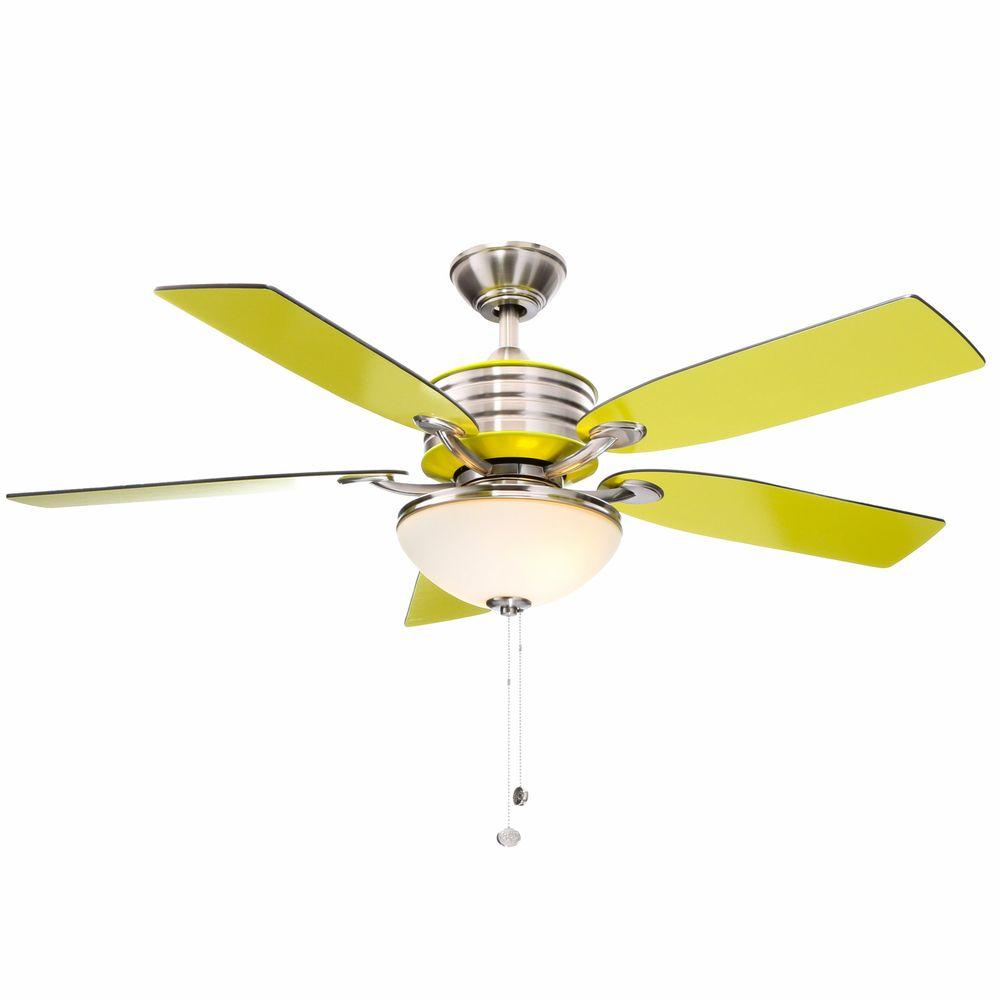 Indoor Brushed Nickel Ceiling Fan With Green