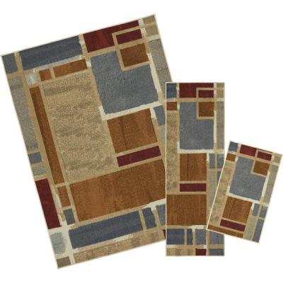 Regnar Multi 5 ft. x 7 ft. 3-Piece Rug Set
