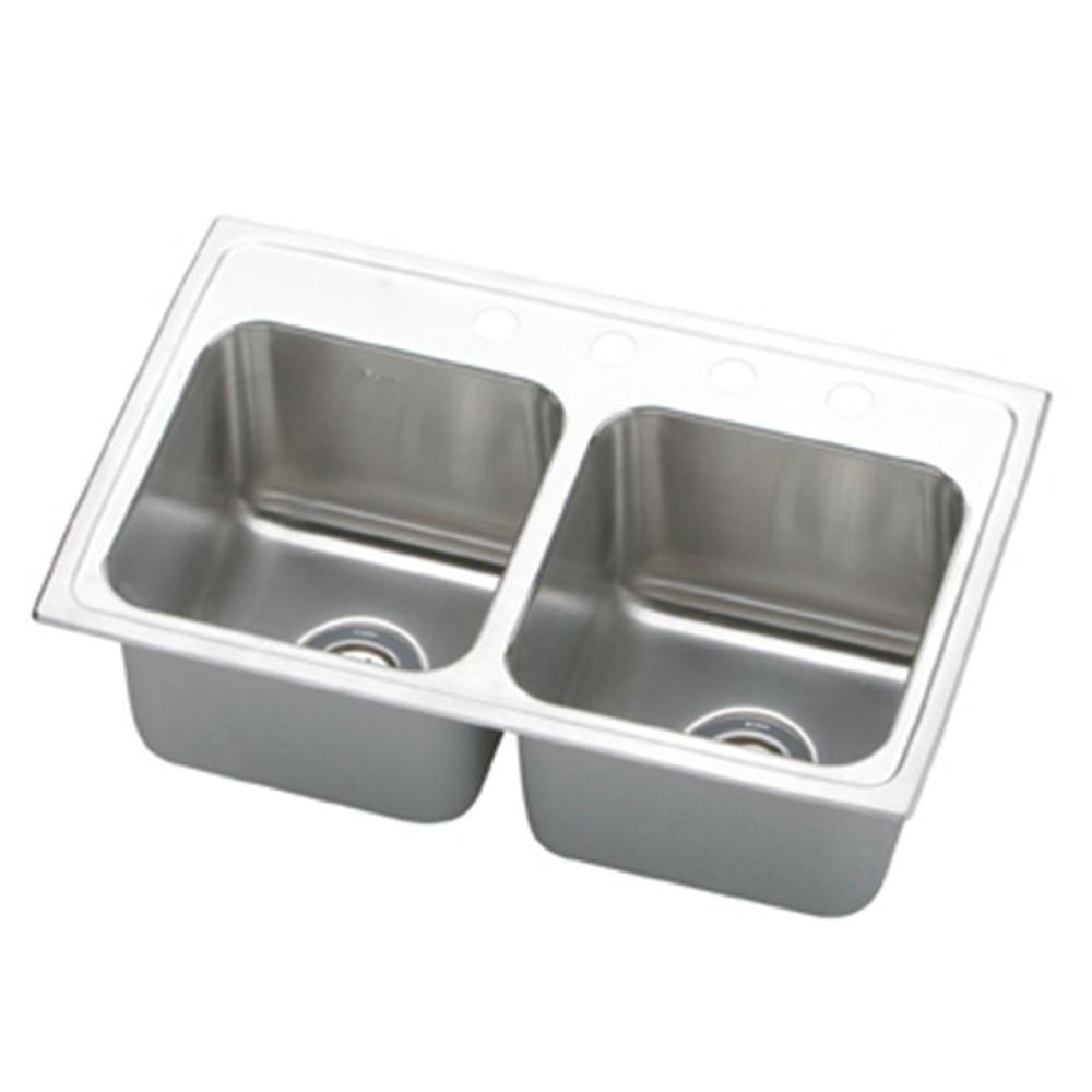 Elkay Lustertone Drop-In Stainless Steel 29 in. 4-Hole Double Bowl Kitchen Sink