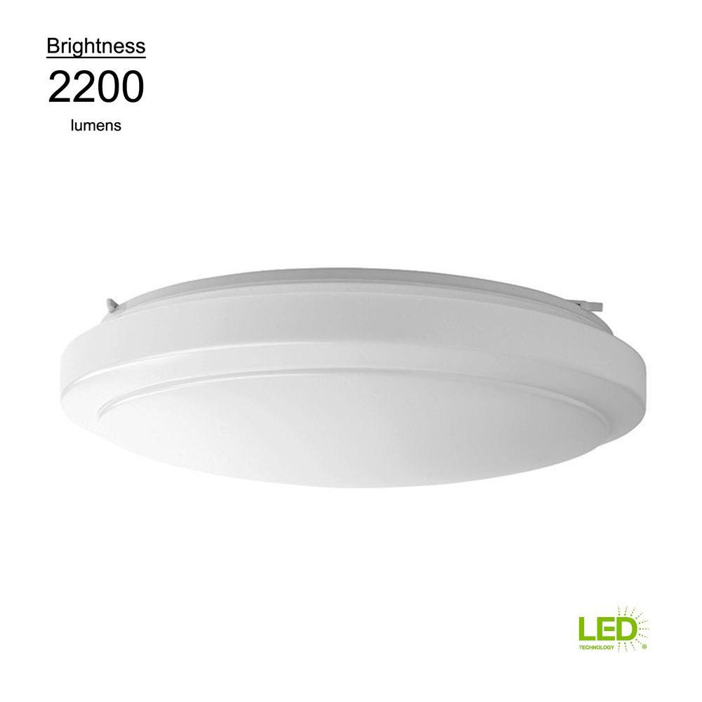 Hampton Bay Ceiling Light Fixtures: Hampton Bay 20 In. Bright White Round LED Flushmount