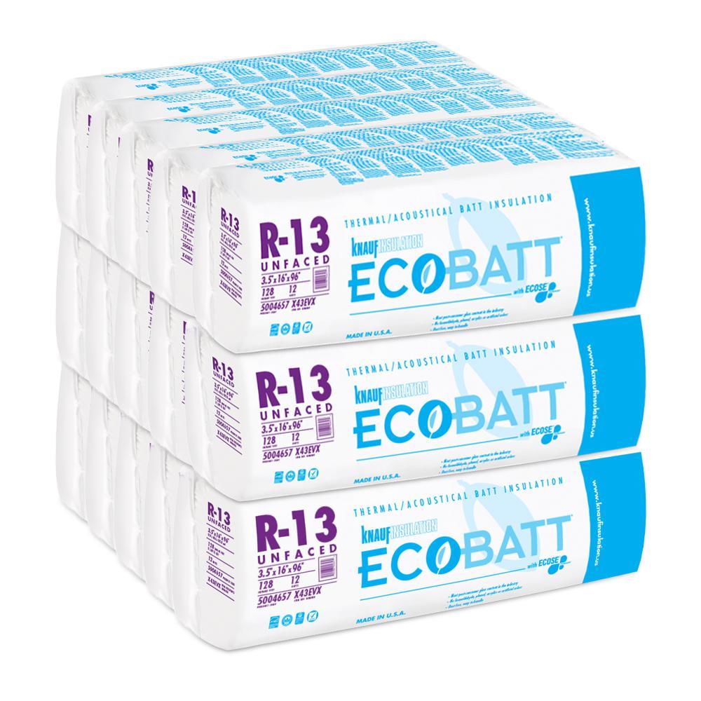 R13 3-1/2 in. x 16 in. x 96 in. EcoBatt Unfaced EcoBatt - Fiberglass Insulation (15 Bags)