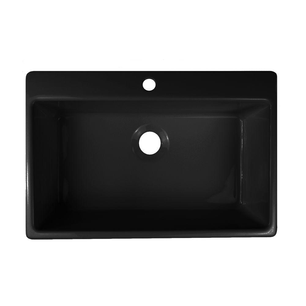 Lyons Industries Essence Drop-In Acrylic 33x22x9 in. 1-Hole Single Basin Kitchen Sink in Black