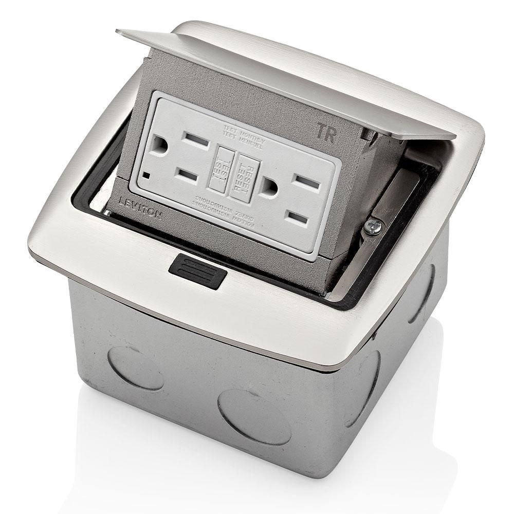 Pop-Up Floor Box with 15 Amp, Tamper-Resistant Self-Test GFCI Outlet, Brushed Nickel