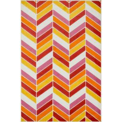 Gracie Lifestyle Collection Ivory/Pink 4 ft. 4 in. x 6 ft. 7 in. Area Rug