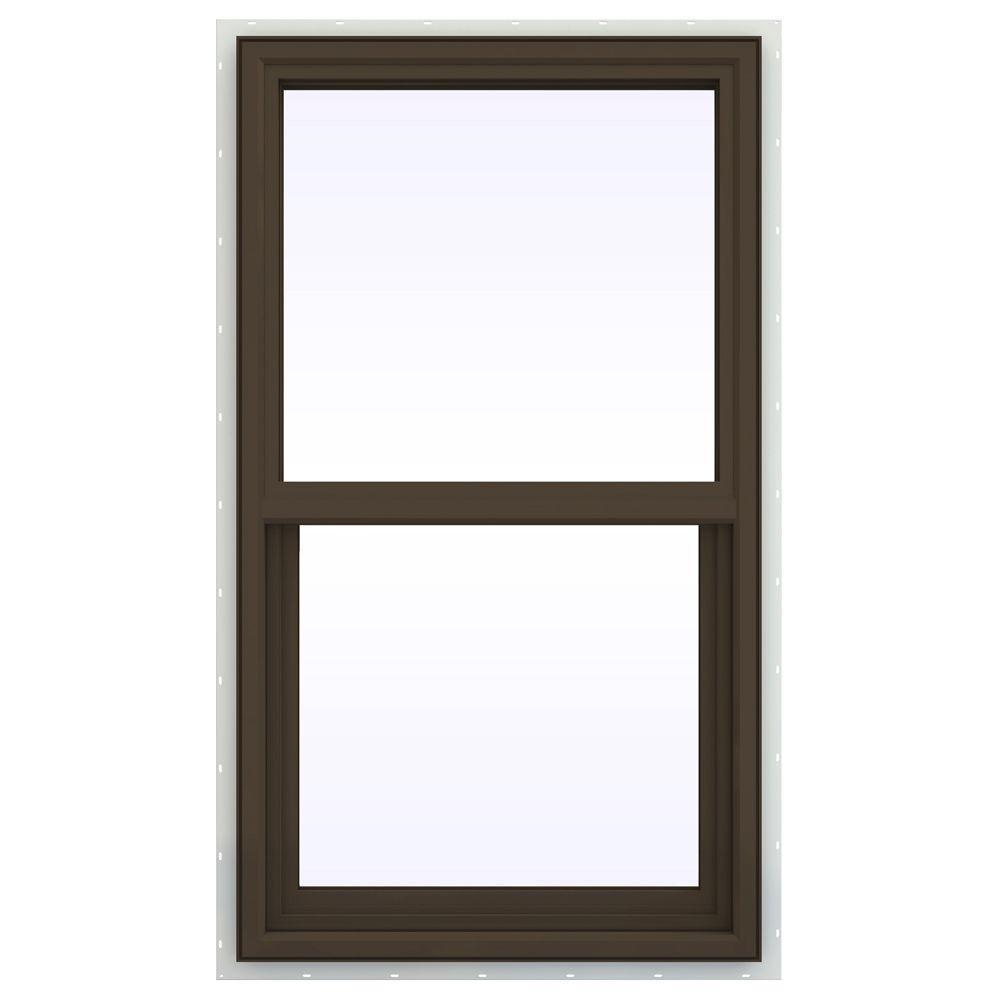 JELD-WEN 23.5 in. x 47.5 in. V-4500 Series Single Hung Vinyl Window - Brown
