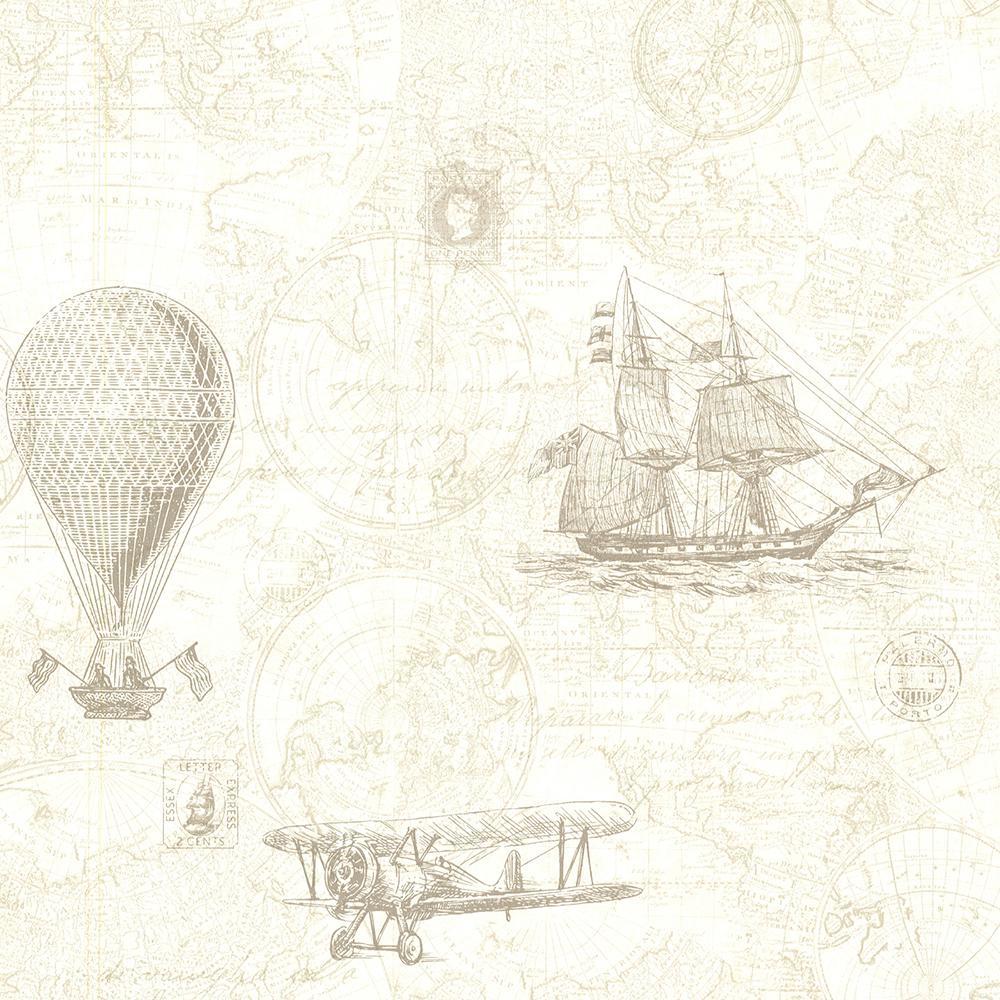 Beacon House 56.4 sq. ft. Explorer Khaki Antique Map Wallpaper 2604-21243