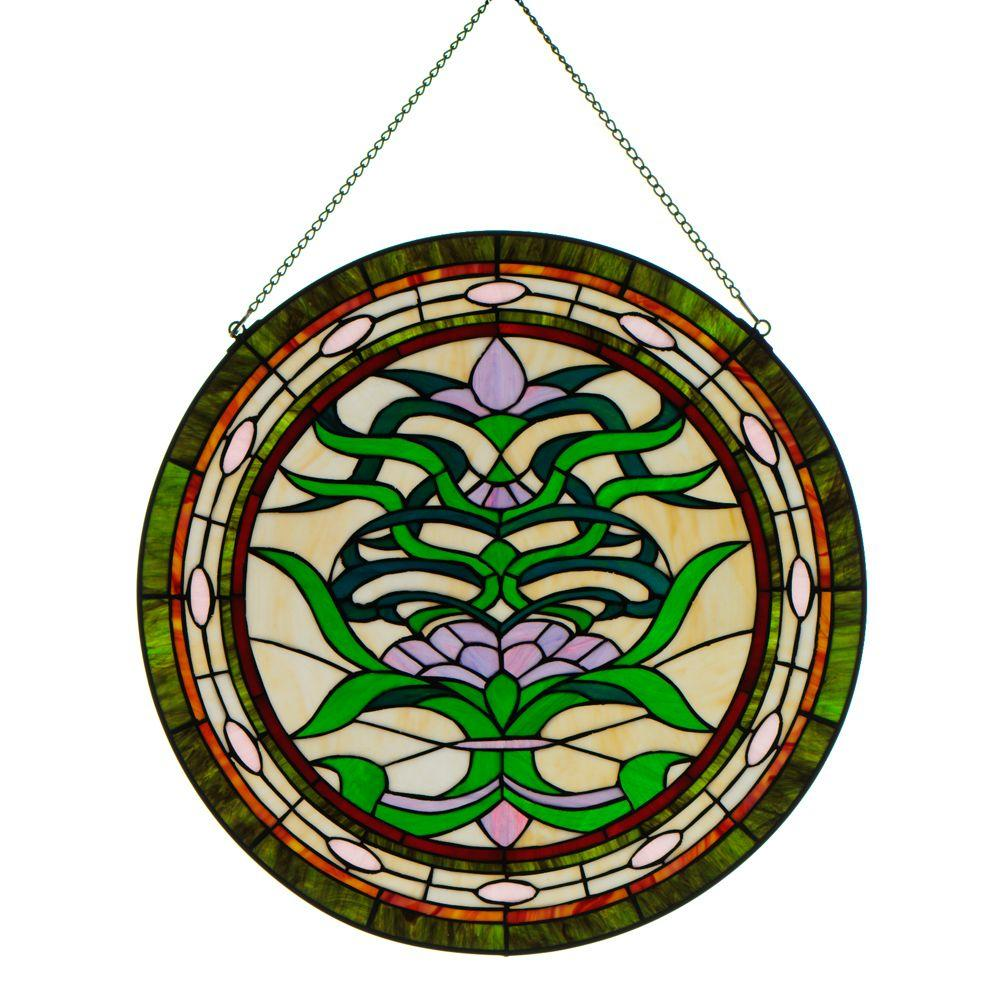 Home Decorators Collection 24 in. W Ainsley Multi Round Art Glass