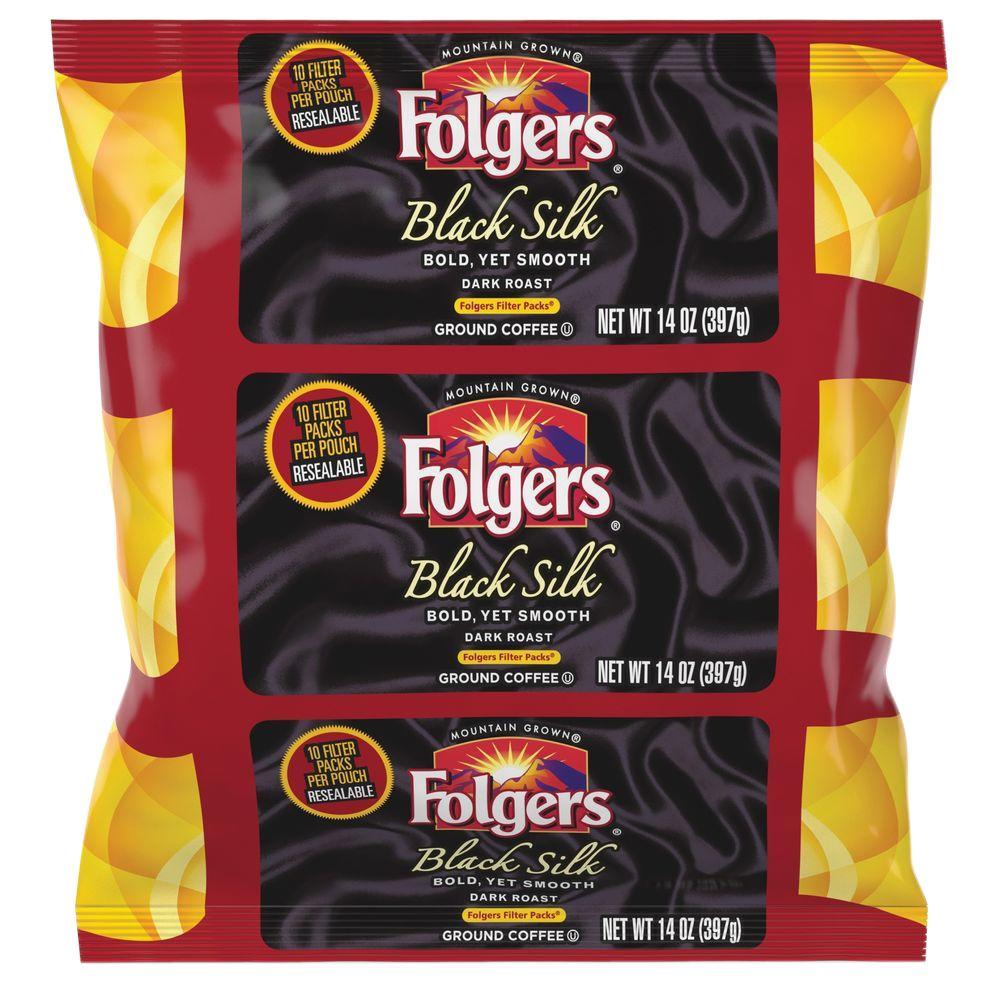 14 oz. Black Silk Ground Coffee Filter Pack Dark/Bold/Smooth Ground Caffeinated