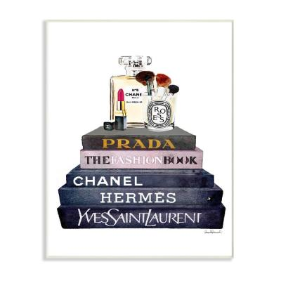 "12.5 in. x 18.5 in. ""Glam Fashion Book Set With Makeup"" by Amanda Greenwood Printed Wood Wall Art"