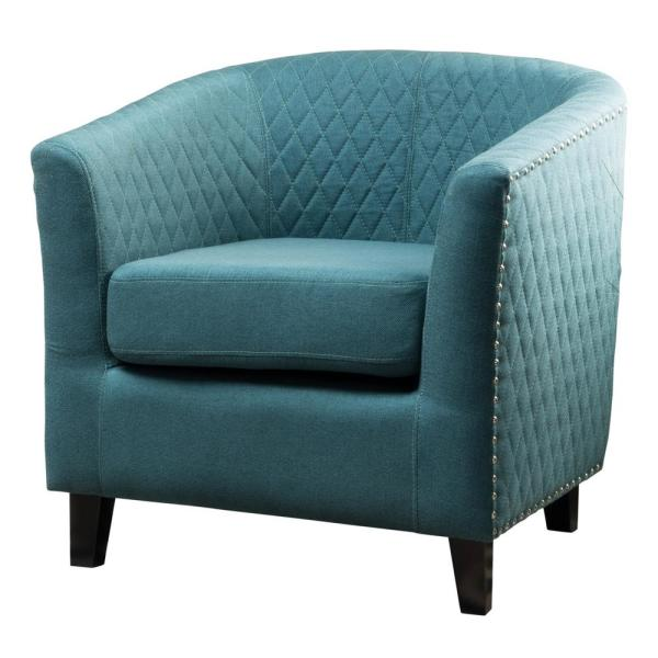 Noble House Mia Quilted Dark Teal Fabric Club Chair with Stud Accents