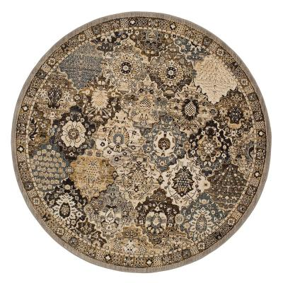 Patchwork Grey 8 ft. x 8 ft. Round Medallion Area Rug