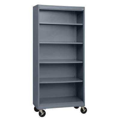 Radius Edge Charcoal Mobile Steel Bookcase
