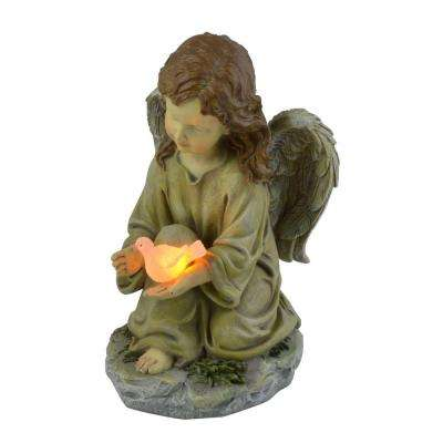 Solar Powered LED Outdoor Polyresin Angel with Dove Statue