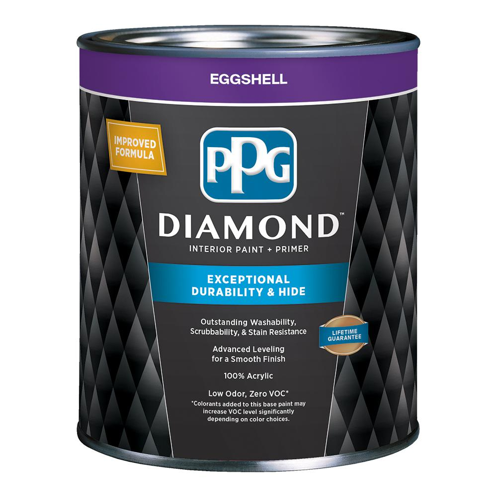 PPGDiamond PPG Diamond 1 qt. Pure White Eggshell Interior Paint and Primer, Tintable