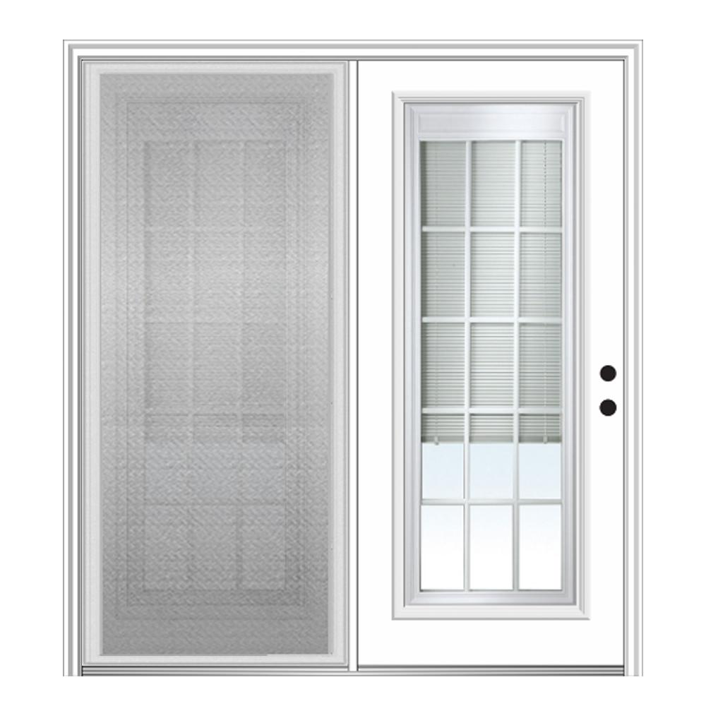 MMI Door 72 in. x 80 in. Primed Fiberglass Prehung Left Hand Internal Blinds Clear Glass 15-Lite Hinged Patio Door with Screen
