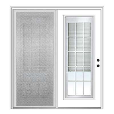 72 in. x 80 in. Primed Fiberglass Prehung Left Hand Internal Blinds Clear Glass 15-Lite Hinged Patio Door with Screen
