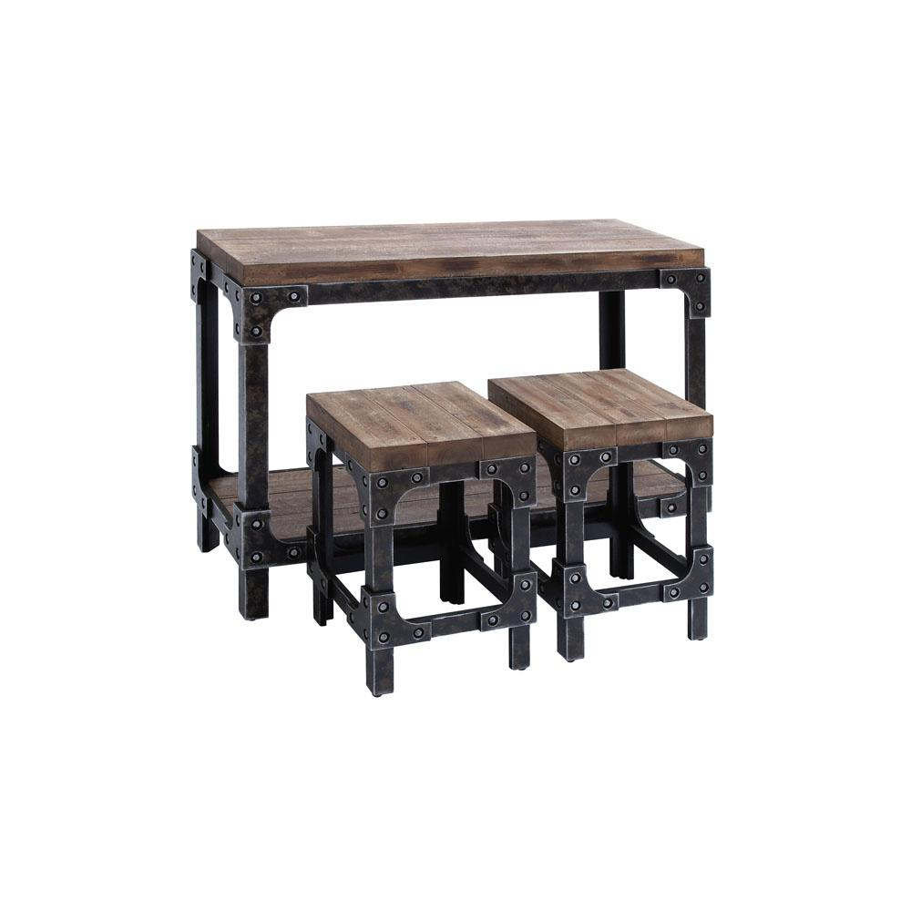distressed industrial furniture. Distressed Brown And Gray Industrial Table With Square Stools Furniture L