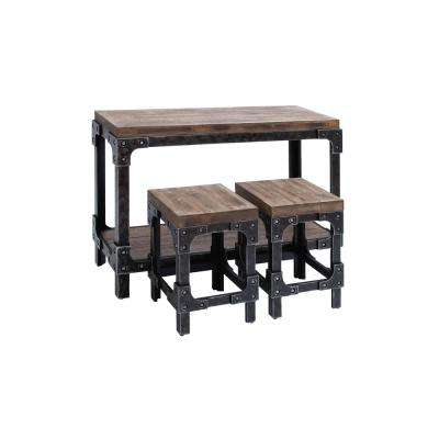 Distressed Brown and Gray Industrial Table with Square Stools