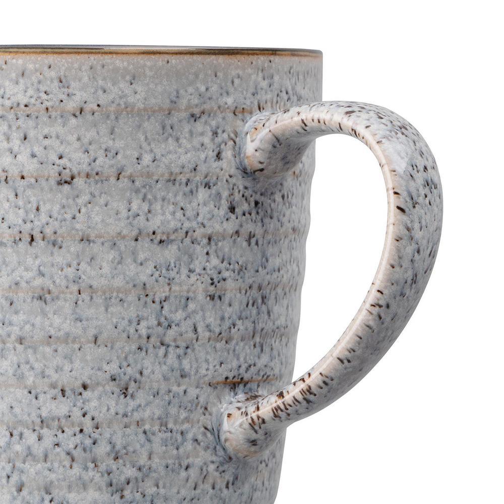 Denby 13 52 Oz Studio Grey White Ridged Coffee Mug Stg 112g The Home Depot