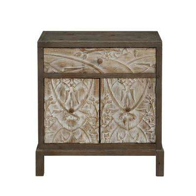 Treasures Weathered Natural 1-Drawer 2-Door Accent Cabinet