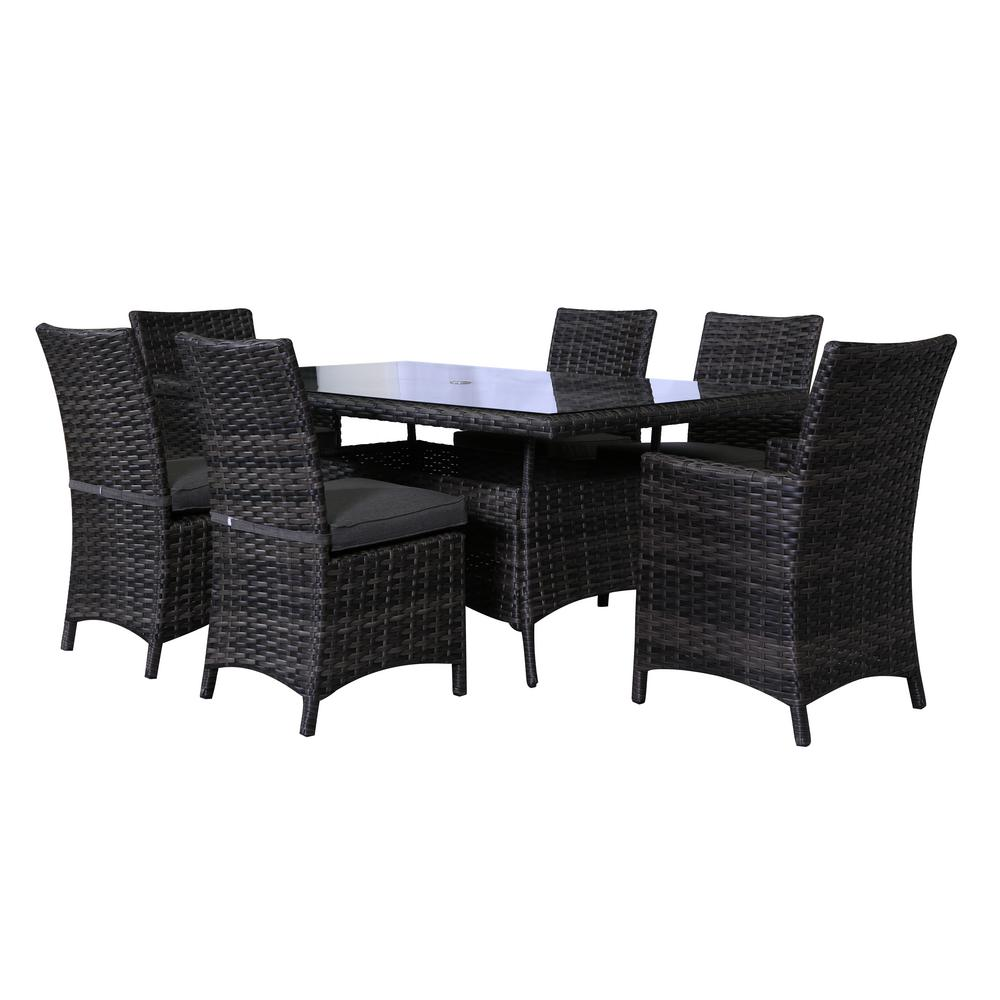 Marvelous Envelor Bora Bora Patio 7 Piece Wicker Outdoor Dining Set With Olefin Charcoal Grey Cushions Short Links Chair Design For Home Short Linksinfo