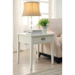 Home Decorators Collection Amelia 1-Drawer White Wooden End Table by Home Decorators Collection