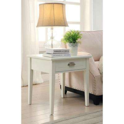 Amelia 1-Drawer White Wooden End Table