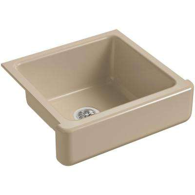 Whitehaven Farmhouse Short Apron-Front Cast Iron 24 in. Single Bowl Kitchen Sink in Mexican Sand
