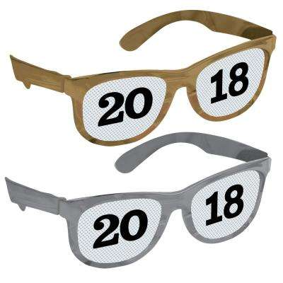 New Year's 2 in. Black, Silver, and Gold Printed 2018 Glasses (8-Count)