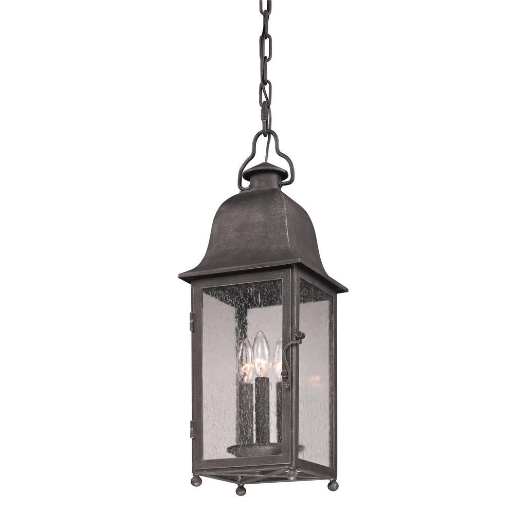 Troy Lighting Larchmont 3-Light Aged Pewter Outdoor Pendant