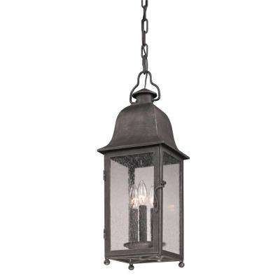 Larchmont 3-Light Aged Pewter Outdoor Pendant