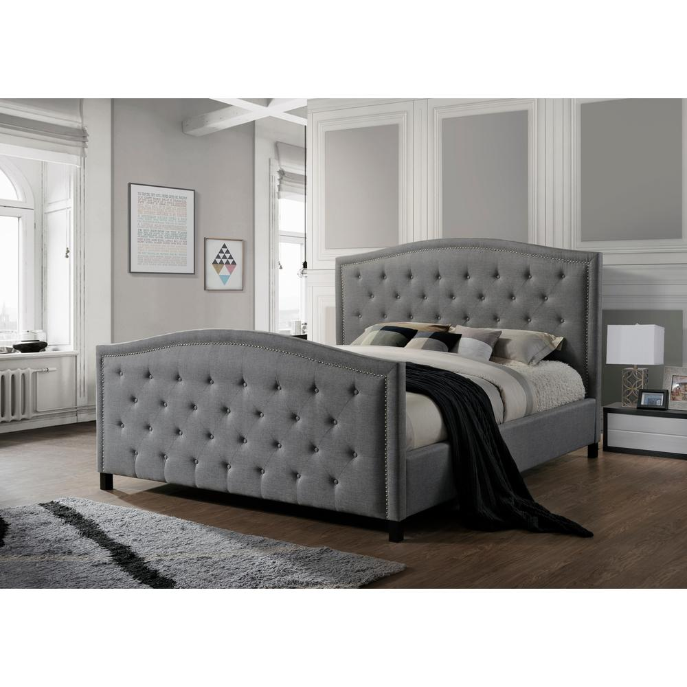 Luxeo camden gray king upholstered bed lux k6379 gry the for Upholstered king bed with storage