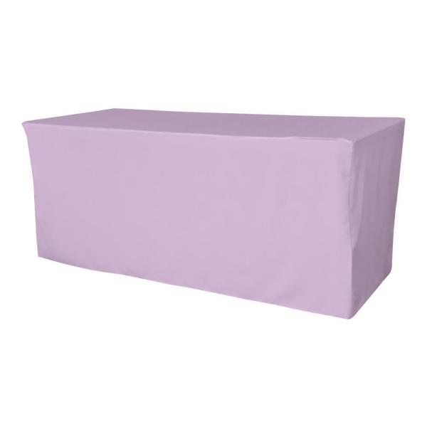 72 in. L x 24 in. W x 30 in. H Lilac Polyester Poplin Fitted Tablecloth