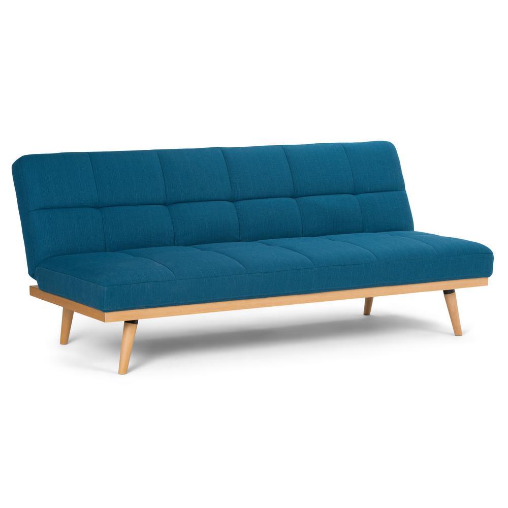 Simpli Home Spencer Contemporary 71 In X 32 30 Sofa Bed Mediterranean Blue Linen Look Fabric Axcsof 02 Mbu The Depot