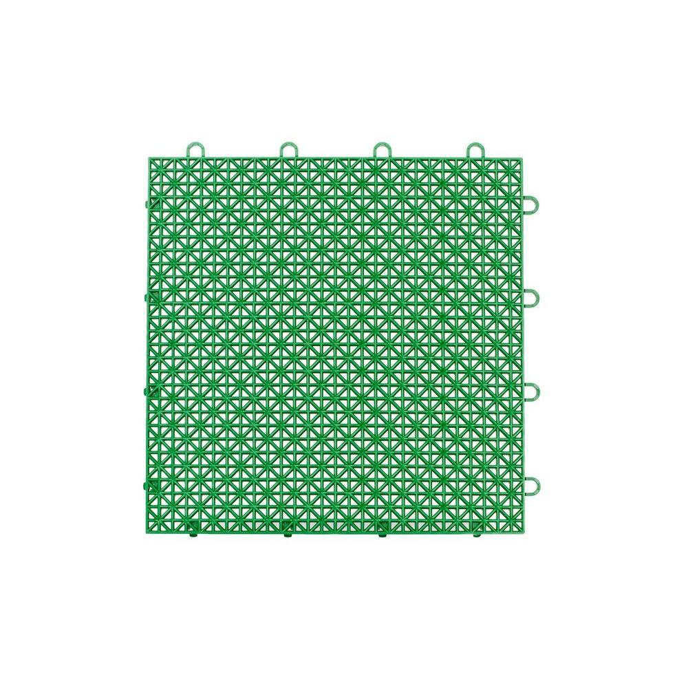 Armadillo Tile Extreme Green 12 in. x 12 in. Polypropylene Interlocking Multipurpose Floor Tile (9-Pack)