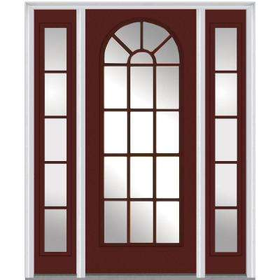 64 in. x 80 in. Classic Right-Hand Full Lite Round Top Clear Painted Fiberglass Smooth Prehung Front Door with Sidelites