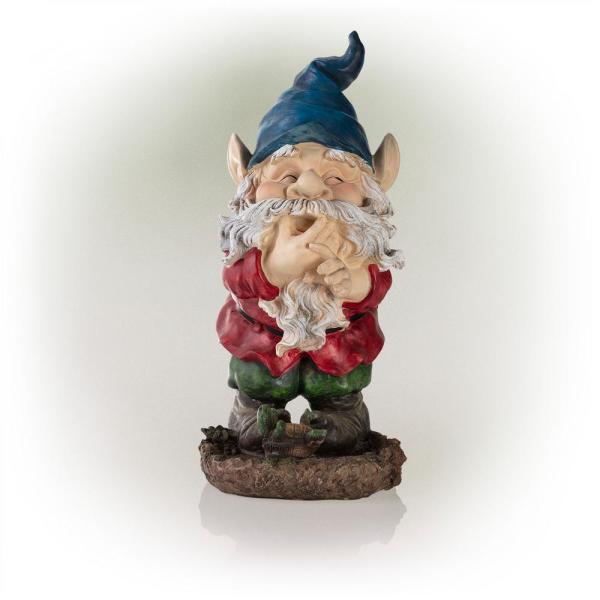 15 in. Tall Outdoor Garden Gnome Smiling Yard Statue Decoration, Multicolor