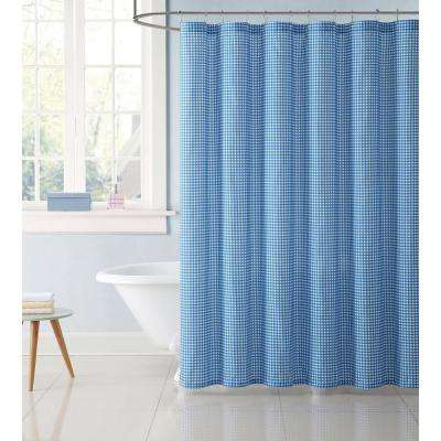 Gingham 72 in. Blue Shower Curtain