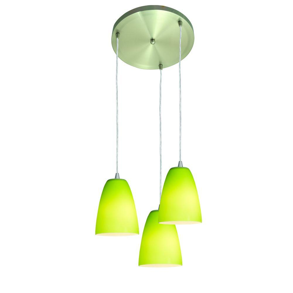 Access Lighting 3 Light Pendant Silver Light Green Glass-DISCONTINUED