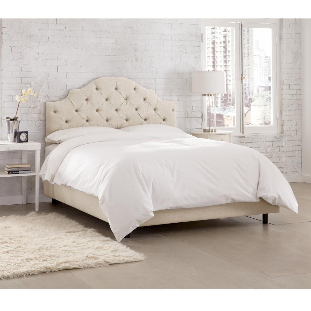 Jones Linen Sandstone California King Tufted Notched Bed