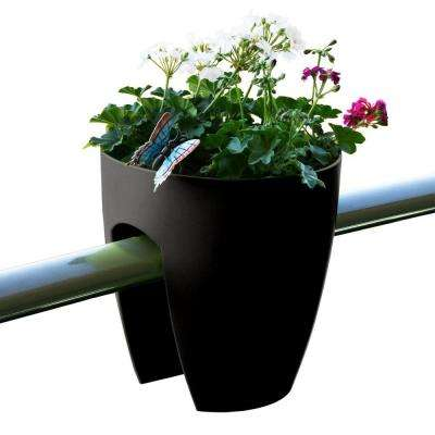 11.4 in. x 11.8 in. x 11.4 in. Black Plastic Railing and Deck Planter (2 pack)