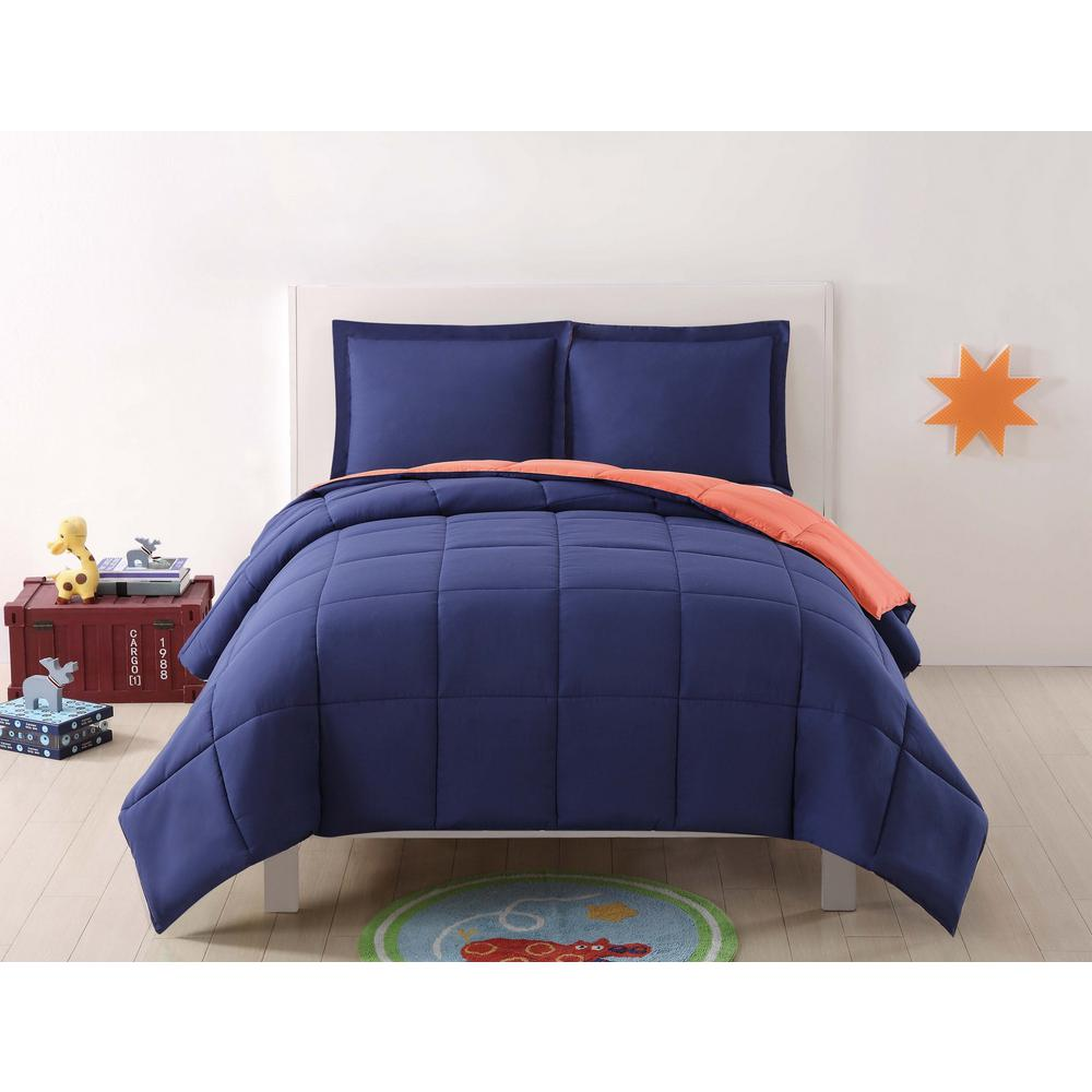 Anytime Solid Navy And Orange Reversible Full Queen Comforter Set 3 Piece