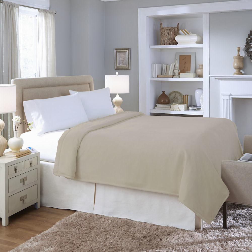 Biddeford Blankets Series Micro Plush Heated Taupe Full Blanket 2031 905191 700 The Home Depot