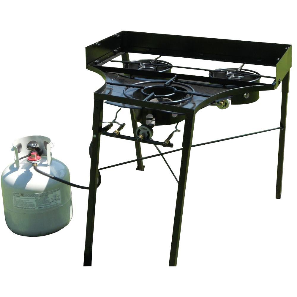 30 in. Tall 3-Burner Camp stove 2-Low Intensity Cast Burners and