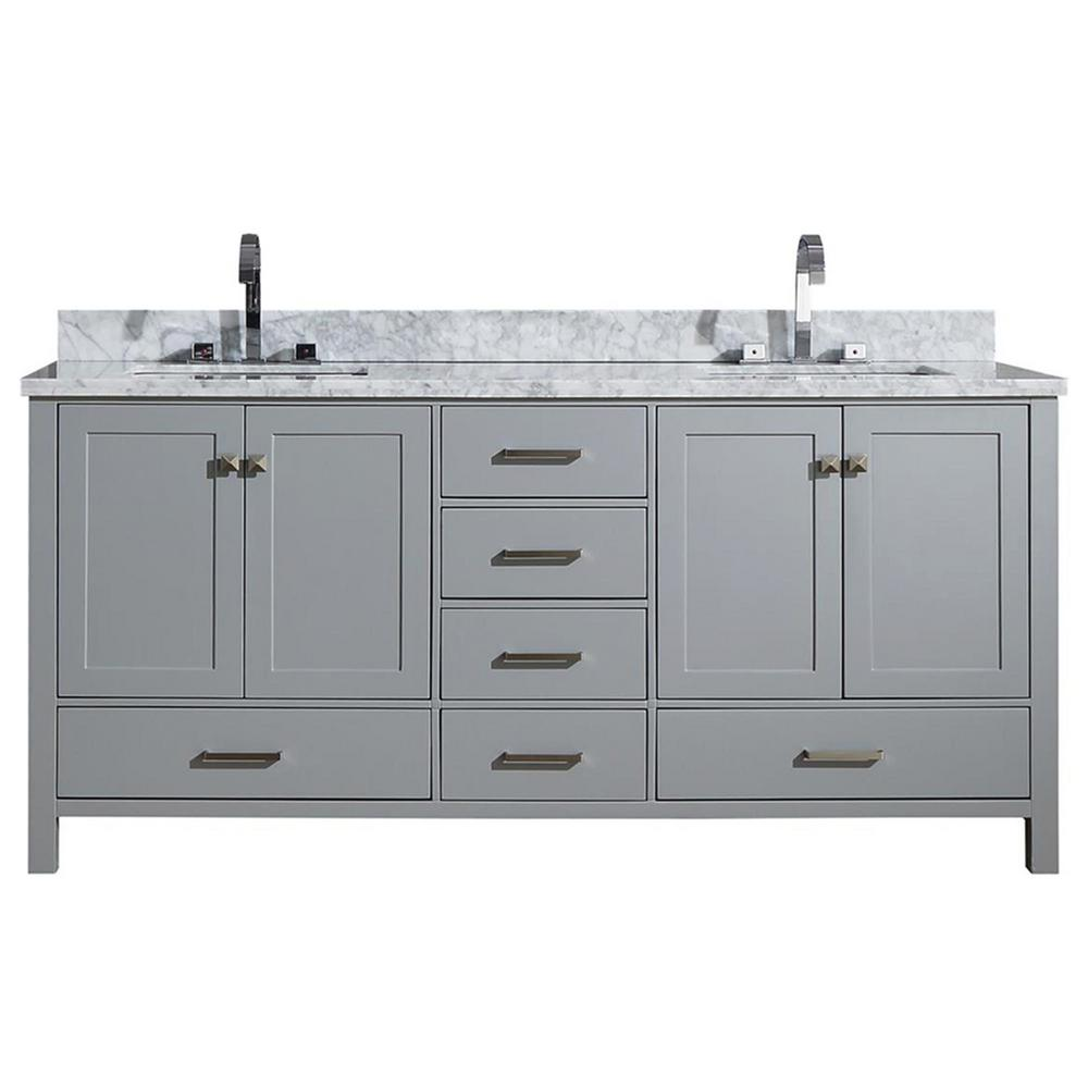Ariel Cambridge 73 in. Bath Vanity in Grey with Marble Vanity Top in Grey with White Basins