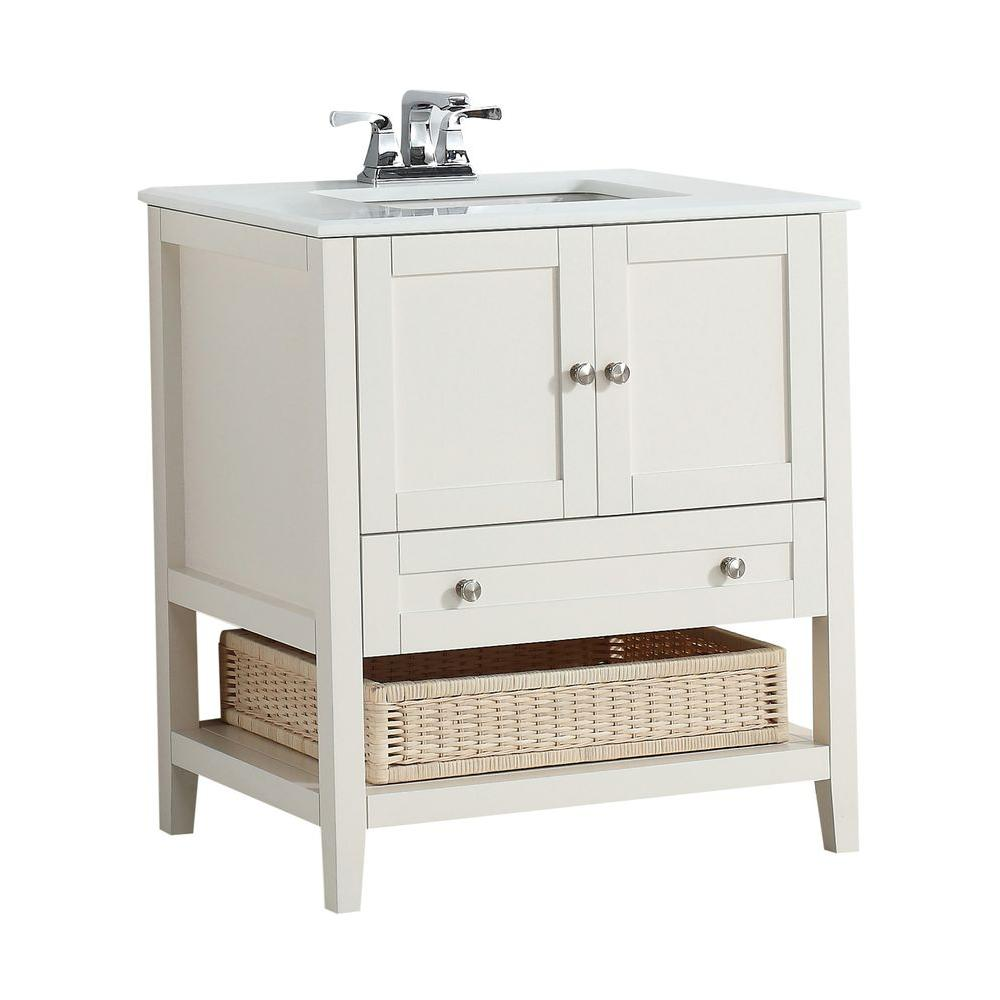 Simpli Home Cape Cod 30 In. W Vanity In Soft White With Quartz Marble Vanity  Top In White 4AXCVCCW 30   The Home Depot